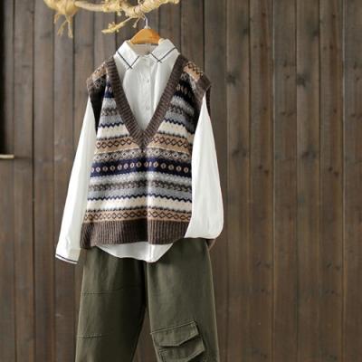 軟糯條紋提花V領馬夾背心寬鬆針織馬甲-設計所在