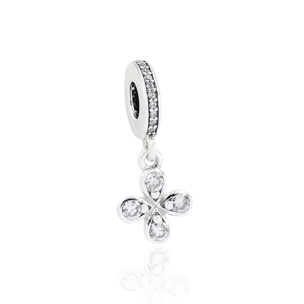 Pandora 潘朵拉 魅力鑲鋯幸運草 垂墜純銀墜飾