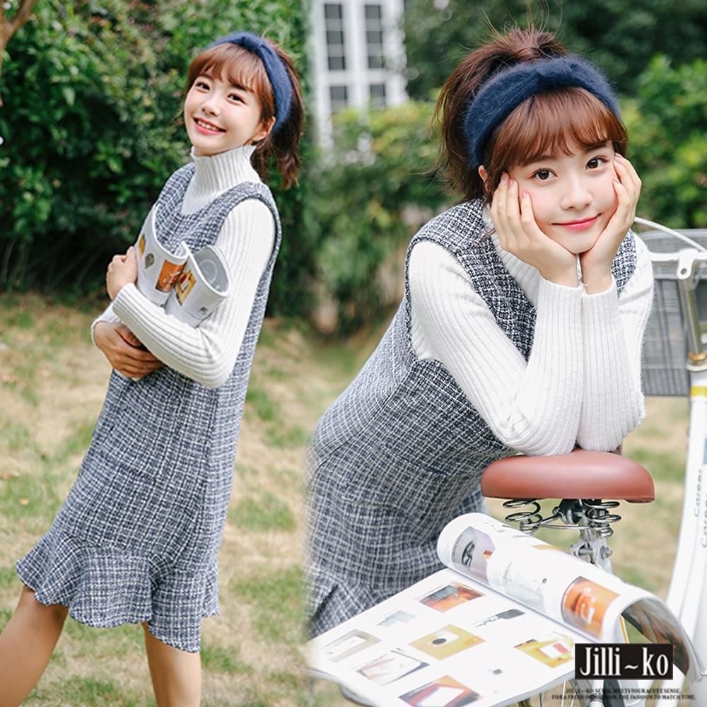 JILLI-KO 文藝學院風針織魚尾背心裙- 藍色