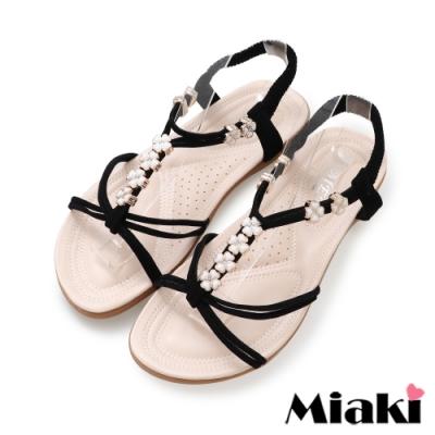Miaki-涼鞋南洋四葉草平底涼拖-黑
