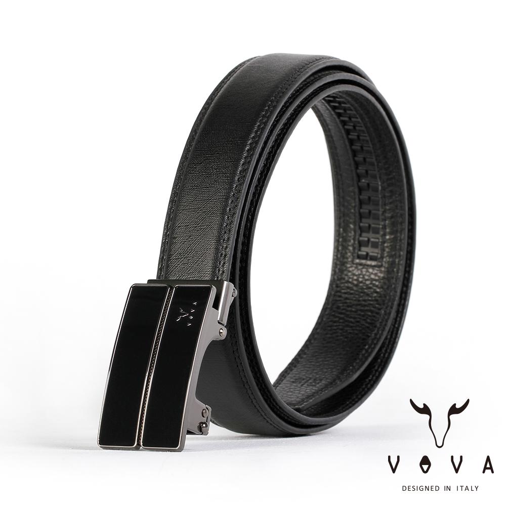 VOVA - 商務紳士琴鍵鏡面自動扣皮帶 - 鎢鋼色
