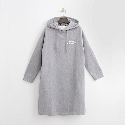 Hang Ten - 女裝 -休閒印字長板帽T-灰色