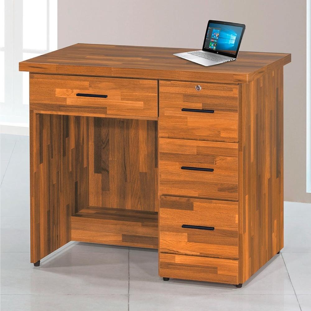 Bernice-柚木集成3尺辦公桌-90×59.5×81cm