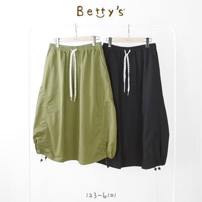 betty's貝蒂思 印花穿帶中長裙(軍綠)