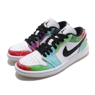 Nike 休閒鞋 Air Jordan 1 Low 運動 女鞋 經典款 喬丹一代 夜光鞋底 星空 彩 黑 CW7310909