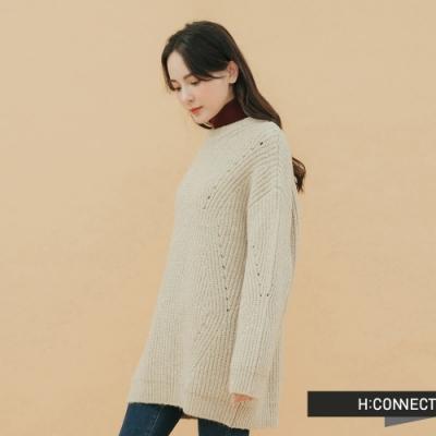 H:CONNECT 韓國品牌 女裝 - 落肩羅紋針織上衣 - 卡其
