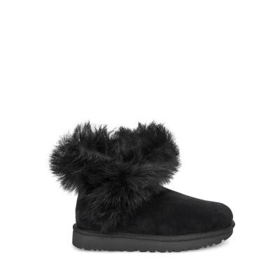 UGG雪靴 經典奢華Fluff羊毛邊迷你短靴