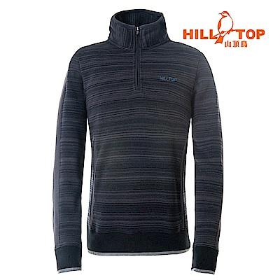 【hilltop山頂鳥】男款ZISOFIT吸溼快乾保暖刷毛上衣H51MH4黑條