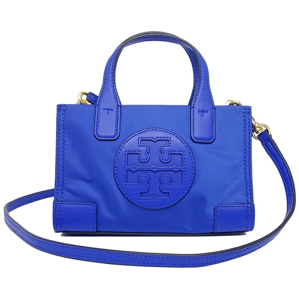 TORY BURCH ELLA 專櫃款 尼龍迷你斜背包/手提包-寶藍色