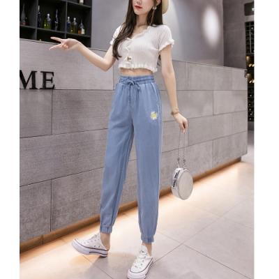 2F韓衣-簡約刺繡點綴天絲棉造型束口褲-藍-(S-2XL)