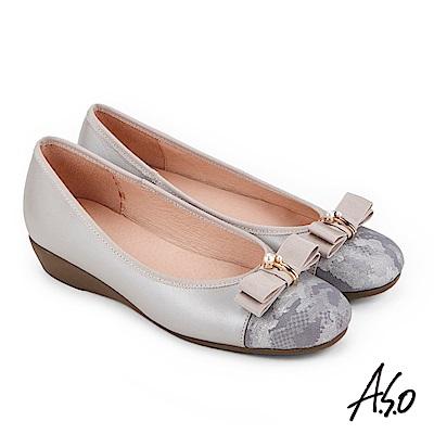 A.S.O 俏麗典雅 珍珠釦飾蝴蝶結低跟鞋 灰