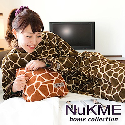 棉花田 NuKME 時尚多功能創意印花袖毯M-深色長頸鹿