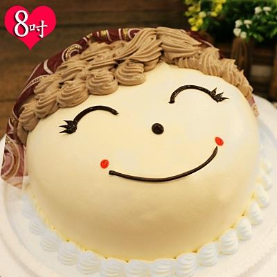 波呢歐 幸福媽媽臉龐雙餡鮮奶蛋糕(8吋)