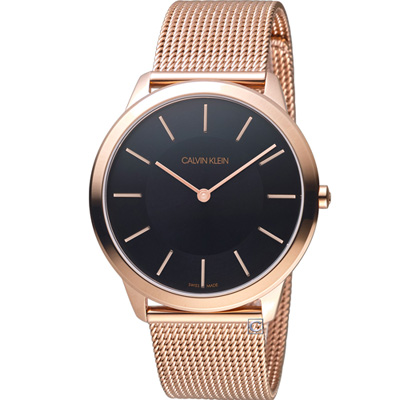Calvin Klein Minimal極簡米蘭帶腕錶(K3M2162Y)黑x玫瑰金