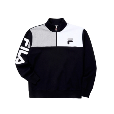 FILA #日潮攻略首部曲 長袖半門襟T恤-黑色 1TEU-1402-BK