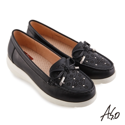 A.S.O 機能休閒 3D超動能直套式蝴蝶結休閒鞋-黑