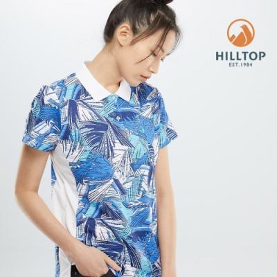 【hilltop山頂鳥】女款吸濕快乾彈性抗菌POLO衫PS14XFG2ECEZ海洋藍印花