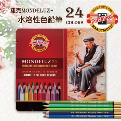 KOH-I-NOOR 3724 捷克專業級MONDELUZ水溶性色鉛筆鐵盒裝-24色