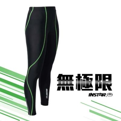 INSTAR 男女 極速緊身長褲 黑螢光綠