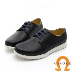 【GEORGE 喬治皮鞋】輕量系列 圓頭素面真皮綁帶休閒鞋-藍