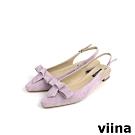 viina Basic 素面蝴蝶結後空跟鞋 - 淺紫