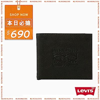 Levis 短款皮夾 LOGO 黑色