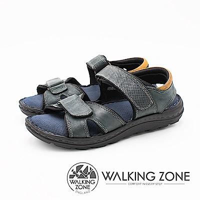 WALKING ZONE 可調式魔鬼氈透氣軟墊 男涼鞋-深藍(另有棕綠)