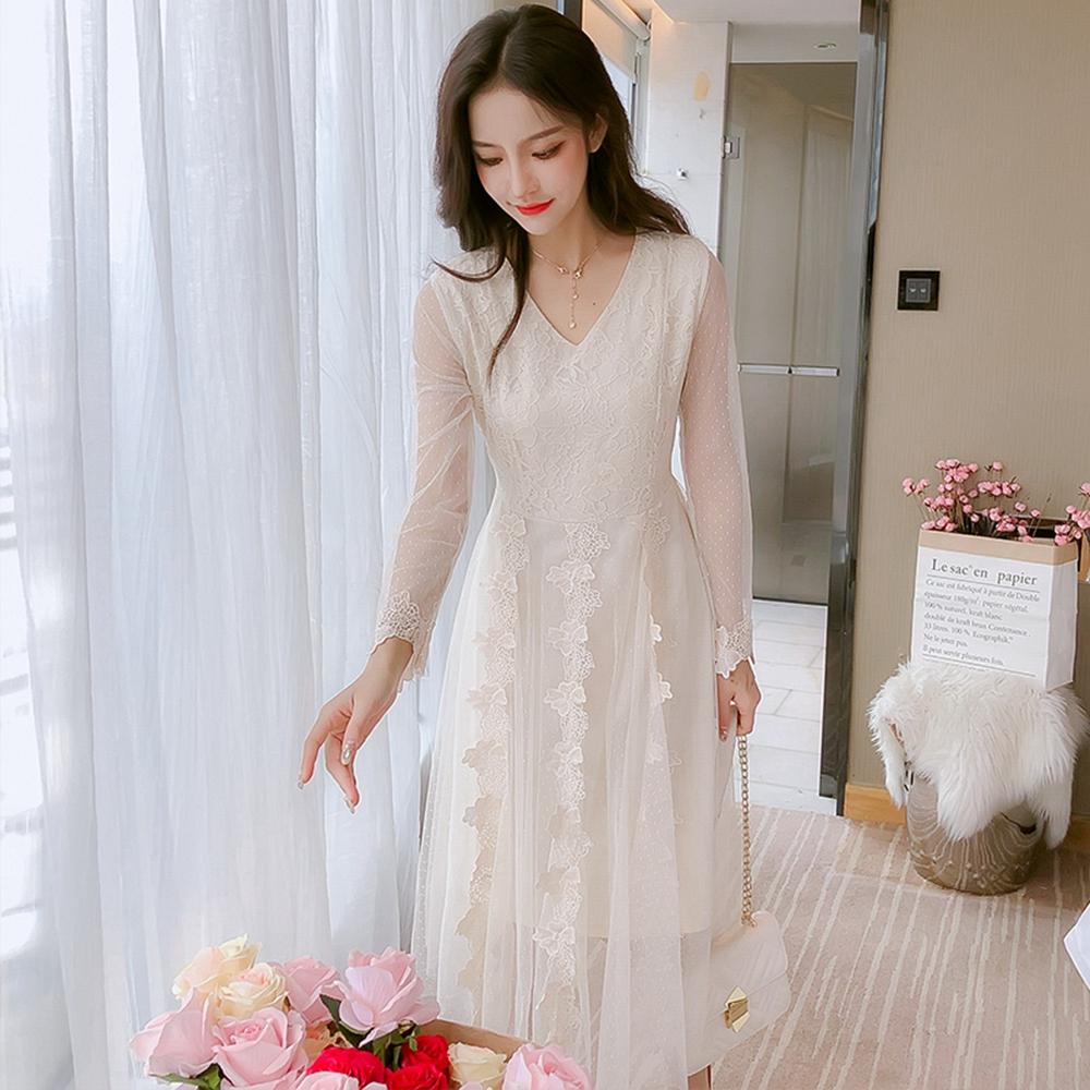 甜美氣質蕾絲洋裝S-XL(共兩色)-Dorri