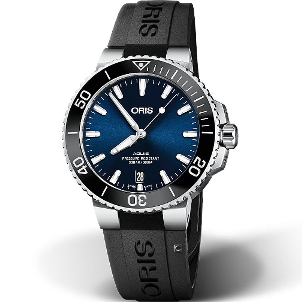Oris豪利時Aquis時間之海300米潛水機械錶-藍x黑/39.5mm