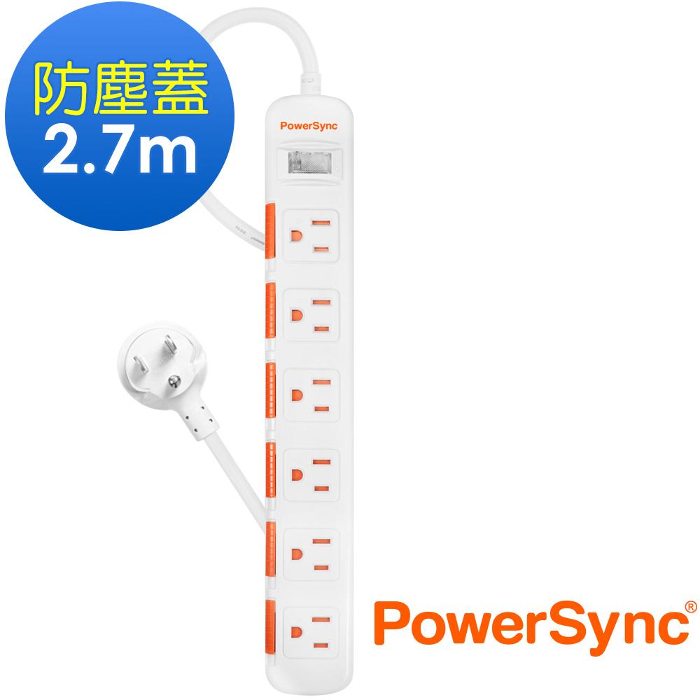 群加 PowerSync 一開六插防塵防雷擊延長線/2.7m(TPS316DN9027)