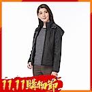 【時時樂限定】zuzai 自在雲曦系列 蓄熱絨連帽壓紋外套-女-黑色