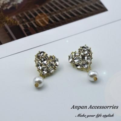 【ANPAN愛扮】韓東大門水鑽珍珠愛心滿溢925銀針耳釘式耳環