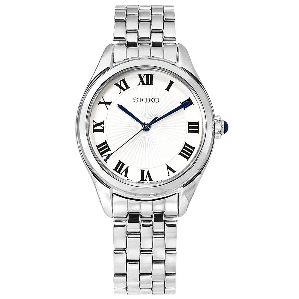 SEIKO 精工 經典簡約 放射狀錶盤 羅馬刻度 不鏽鋼手錶-白色/29mm