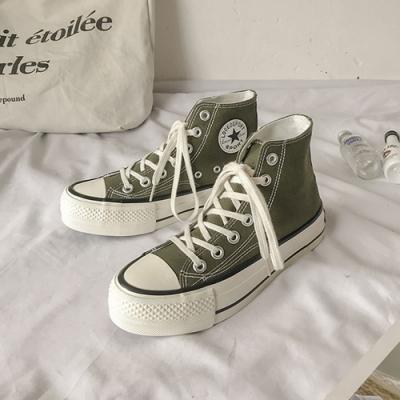 韓國KW美鞋館 都市休閒高筒厚底帆布鞋-橄欖綠
