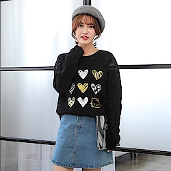 KITTY系列~排列愛心印圖內刷毛長袖上衣-OB大尺碼