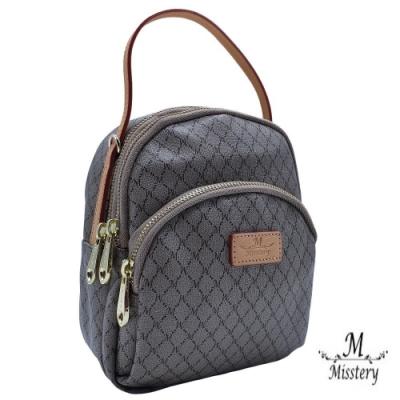 【Misstery】經典膠料搭配植鞣皮革後背包/斜背包/小背包