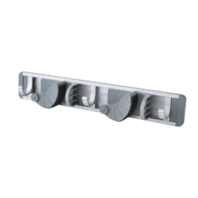 【FL生活+】鋁合金免釘快卡式拖把固定架-雙桿3勾組(FL-213)
