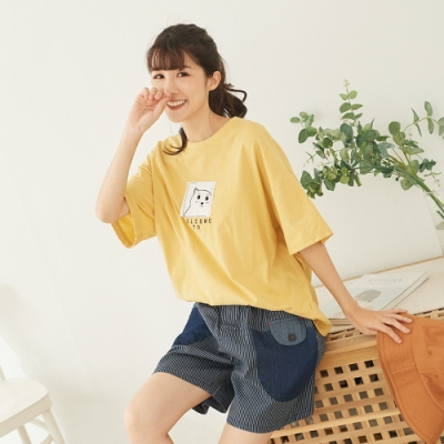 慢 生活 前後貼布寬版T恤- 黃色