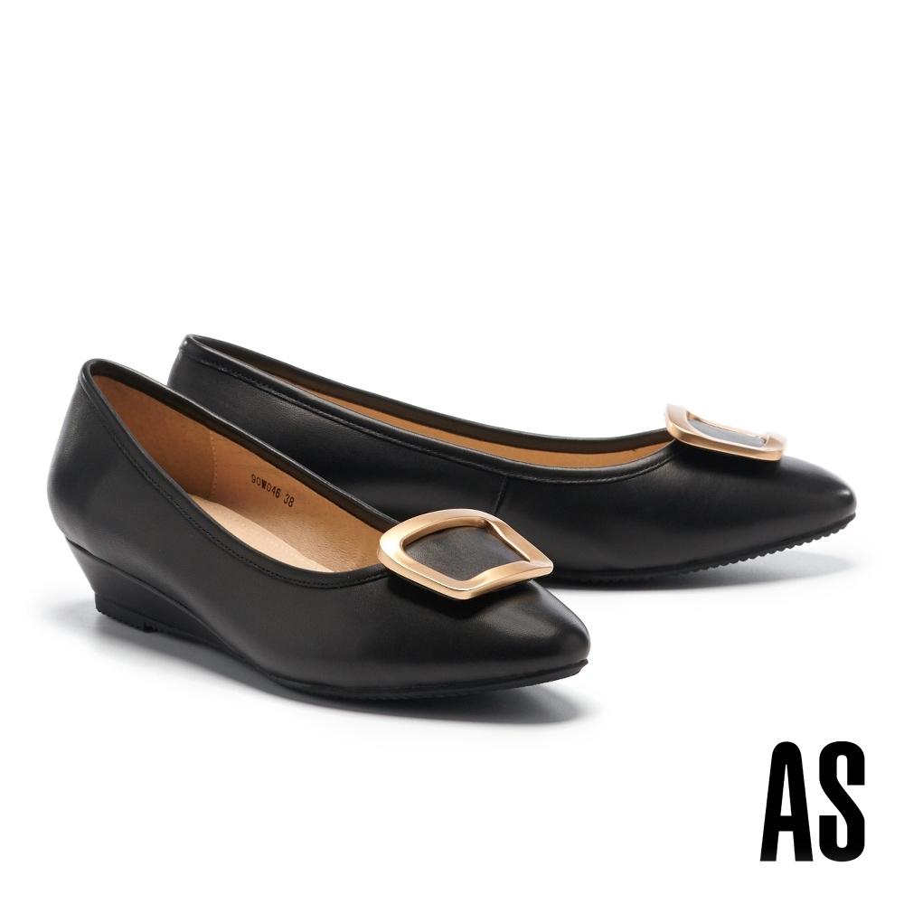 低跟鞋 AS 都會典雅金屬圓釦全真皮楔型低跟鞋-黑