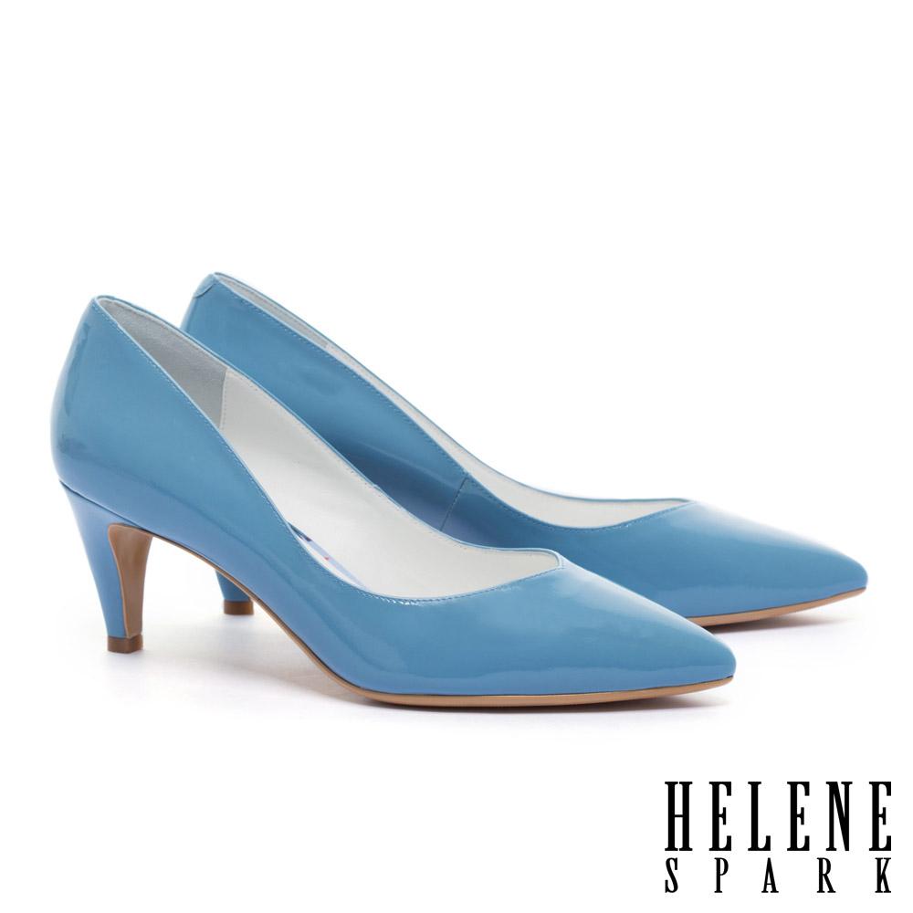 高跟鞋 HELENE SPARK 極簡百搭質感牛軟漆皮尖頭高跟鞋-藍