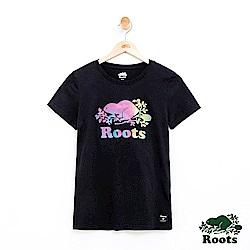 女裝Roots 漸層海狸LOGO短袖T恤-黑