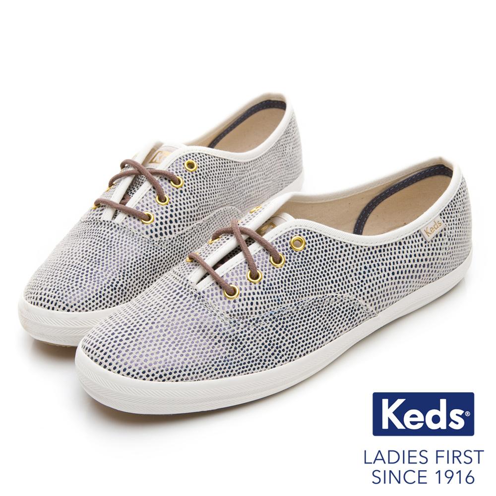 Keds CHAMPION 普普圓點經典綁帶休閒鞋-藍色
