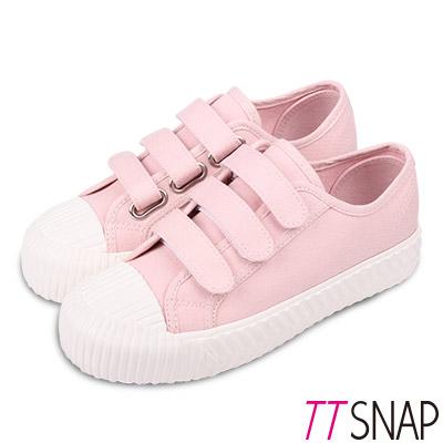 TTSNAP餅乾鞋-細緻帆布三層魔鬼氈厚底鞋 粉