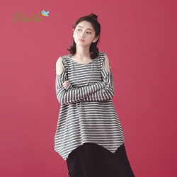 【Dailo】條紋露肩長袖-上衣(四色)