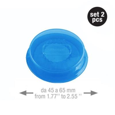 義大利製SiliKoMart-聰明保鮮蓋CAPFLEX藍色二入組-M(4.5cm)