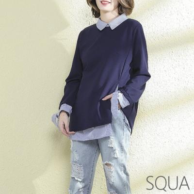 SQUA 雪紡拼接襯衫假兩件上衣-(L~XL)