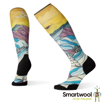 SmartWool 女 PhD滑雪輕量菁英減震型PRINT高筒襪-Afterglow 彩色
