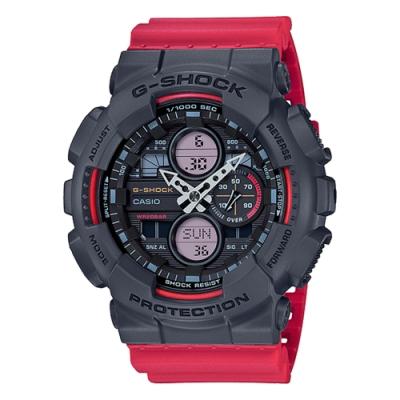 CASIO 卡西歐G-SHOCK質感耀眼耐衝擊手錶-灰X紅撞色(GA-140-4A)