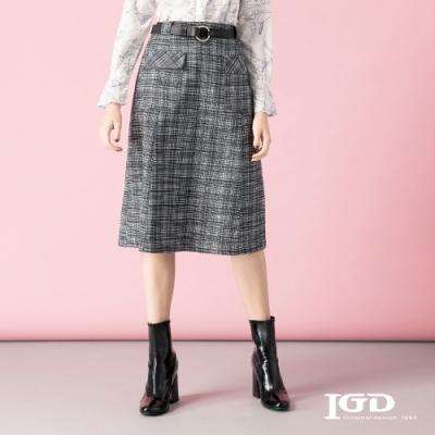 【IGD 英格麗】純棉復古格紋口袋剪接裙
