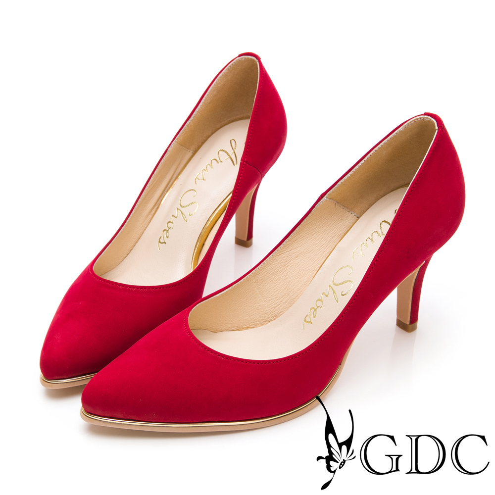 GDC-氣勢女強人尖頭性感真皮上班金邊高跟鞋-紅色